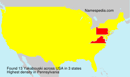Surname Yakabouski in USA