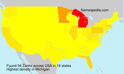 Surname Zanke in USA