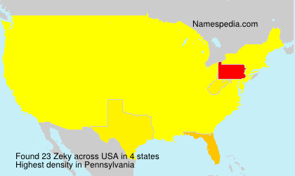 Surname Zeky in USA