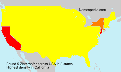 Surname Zinterhofer in USA